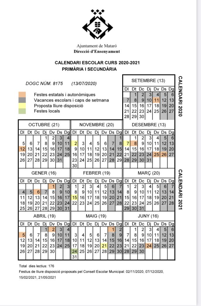Calendari del segon trimestre